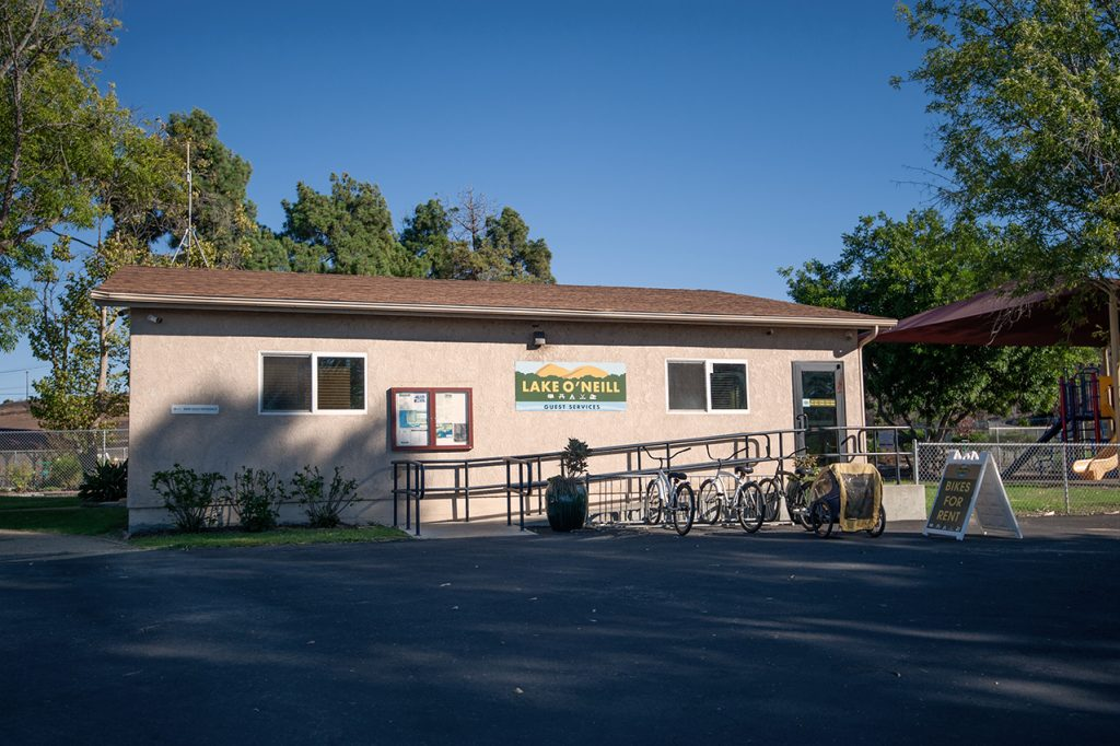 Guest services building with bikes for rent.
