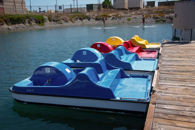 Parked Pedal Boats in the marina