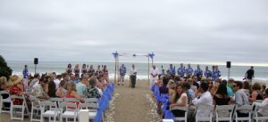San Onofre Beach wedding with chairs and guests