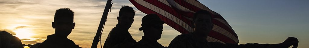 image of Marines silhouette with American Flag