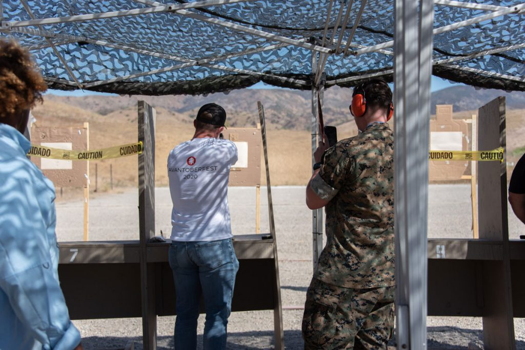 Man shooting target at the shooting range.