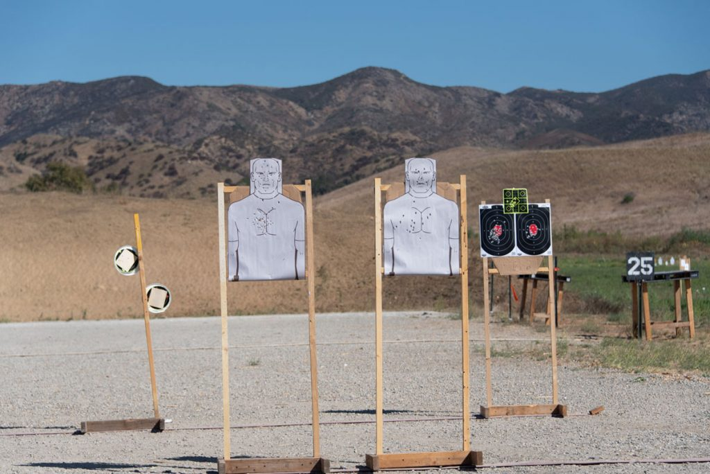 Target practice with mountain background at the shooting range