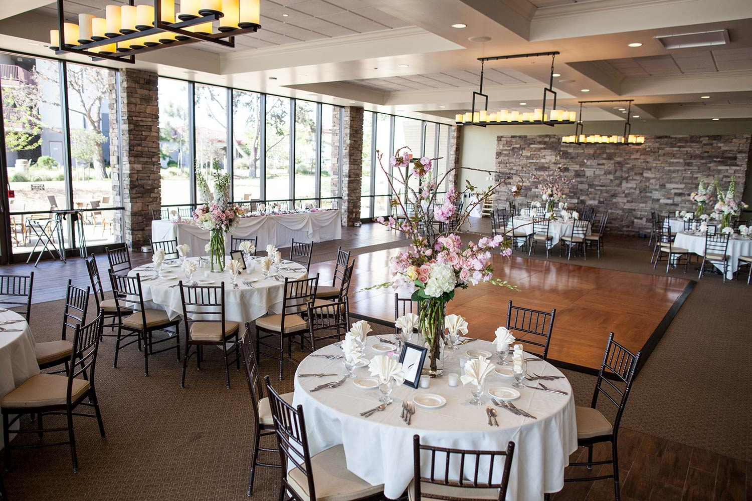 Seaview Room Wedding table set up with flowers