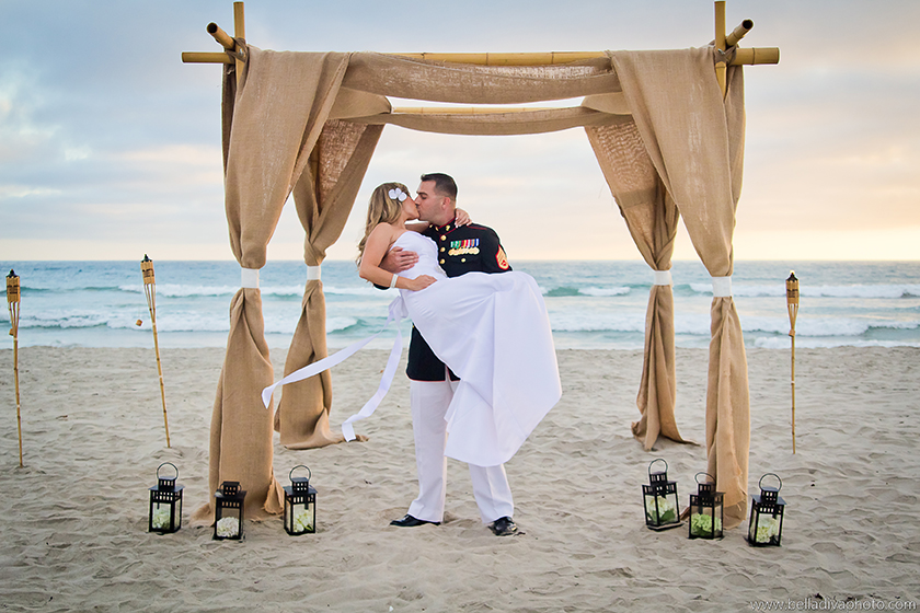 Del Mar Beach Wedding kiss