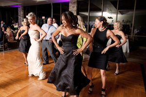 Pacific Views bride and guests line dance