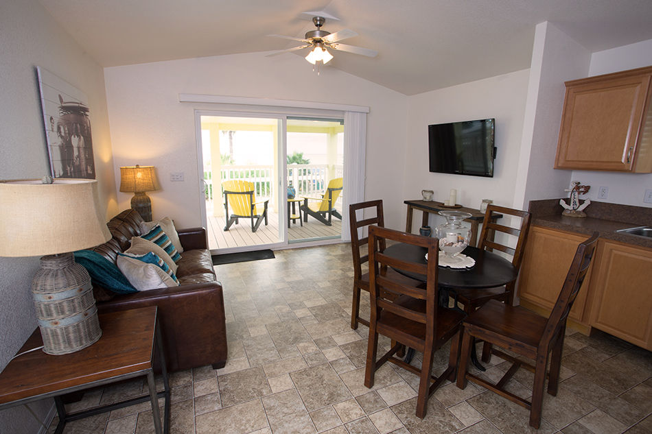 san onofre beach cottages dining and sofa