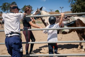 stepp stables child getting on horse
