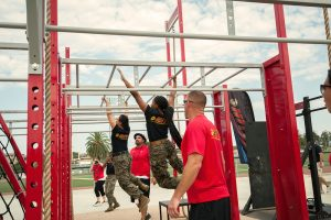 women marines on HITT bars