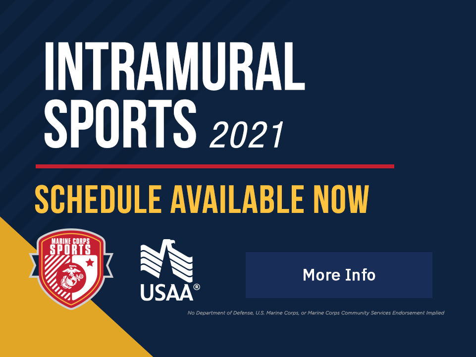 Intramural Sports: Winter 2020 – Schedule available now. [Button: More Info]