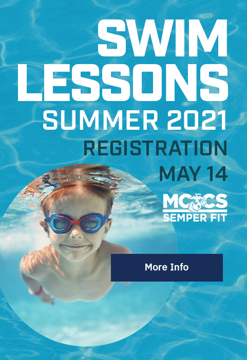Summer 2021 Swim Lessons: Registration opens May 14 [Button: More Info]