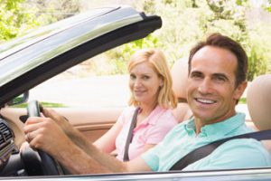 Retiree couple in a car