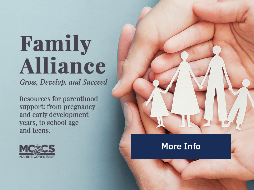 Family Alliance: Resources for parenthood support. [Button: More Info]