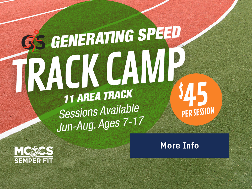 Generation Speed Track Camp: June -Aug, Ages 7-17; 11 Area Trackd' $45/session. [Button: More Info]